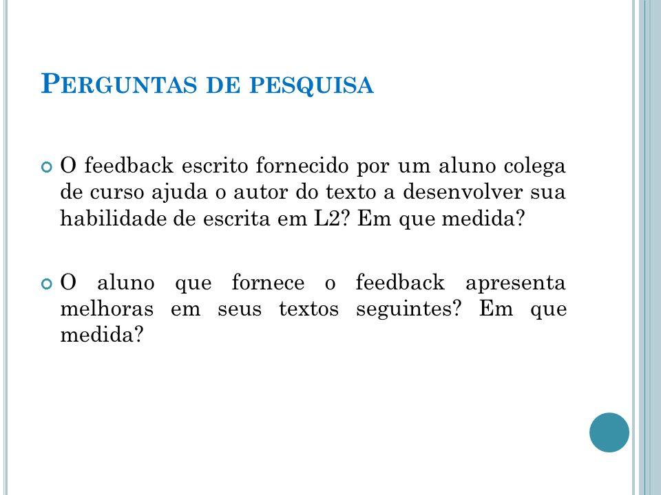 P ERGUNTAS DE PESQUISA O feedback escrito fornecido por um aluno colega de curso ajuda o autor do texto a desenvolver sua habilidade de escrita em L2.