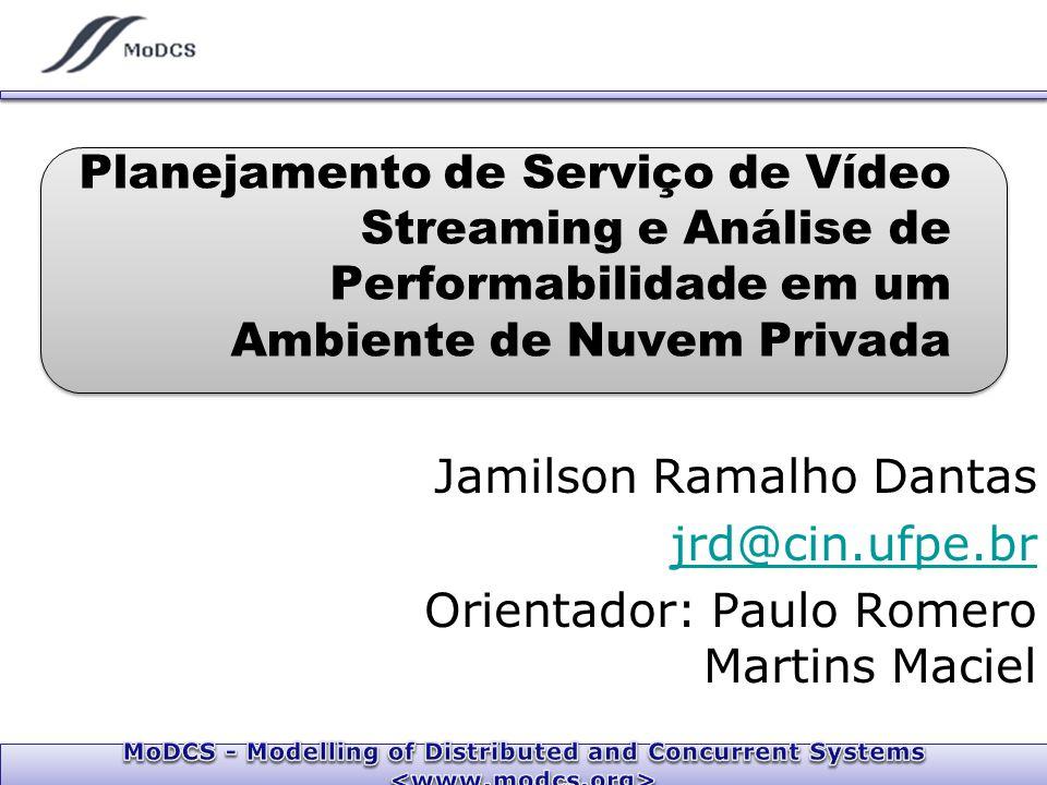 Jamilson Ramalho Dantas jrd@cin.ufpe.br Orientador: Paulo Romero Martins Maciel Planejamento de Serviço de Vídeo Streaming e Análise de Performabilidade em um Ambiente de Nuvem Privada