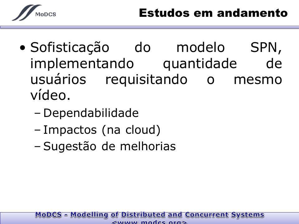Estudos em andamento Sofisticação do modelo SPN, implementando quantidade de usuários requisitando o mesmo vídeo.