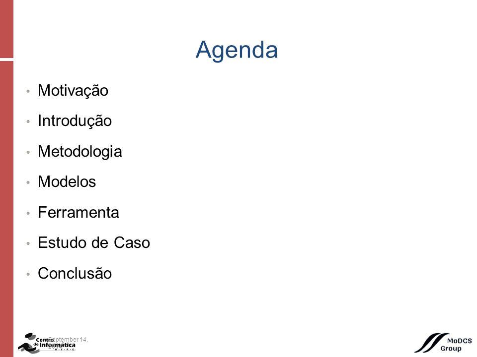 Motivação Introdução Metodologia Modelos Ferramenta Estudo de Caso Conclusão Agenda 2September 14, 2014