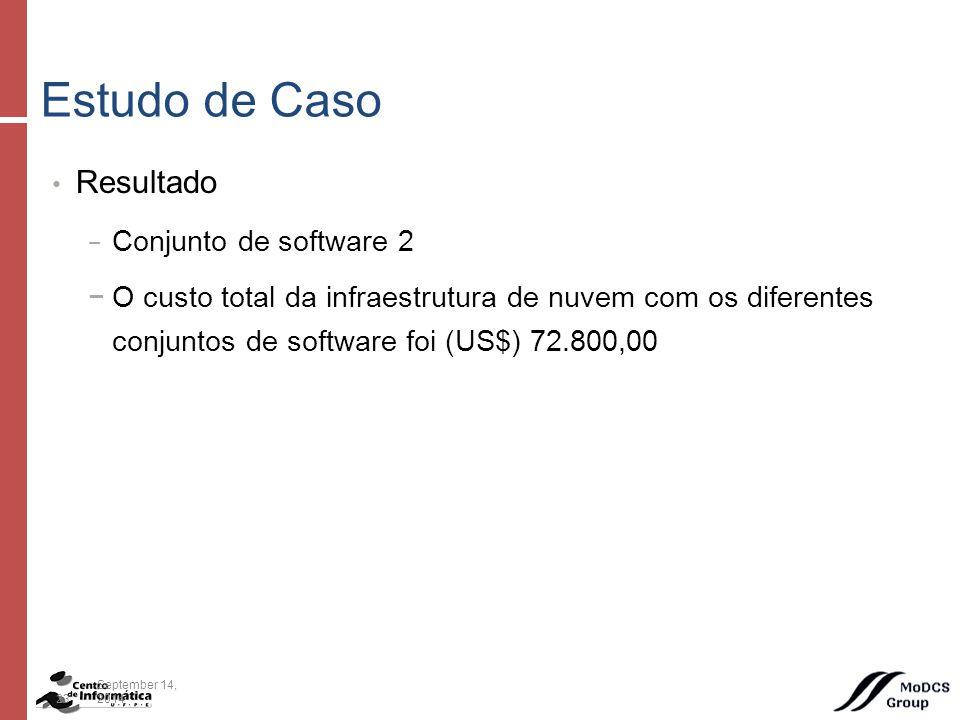 Resultado − Conjunto de software 2 −O custo total da infraestrutura de nuvem com os diferentes conjuntos de software foi (US$) 72.800,00 Estudo de Caso 23September 14, 2014