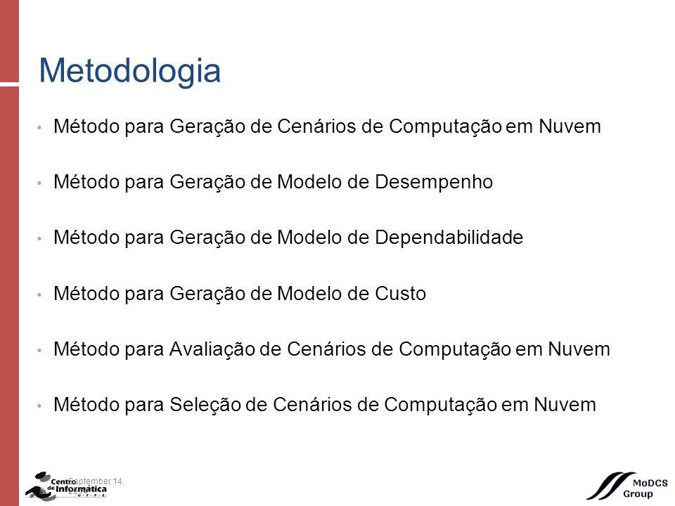 Método para Geração de Cenários de Computação em Nuvem Método para Geração de Modelo de Desempenho Método para Geração de Modelo de Dependabilidade Método para Geração de Modelo de Custo Método para Avaliação de Cenários de Computação em Nuvem Método para Seleção de Cenários de Computação em Nuvem Metodologia 8September 14, 2014