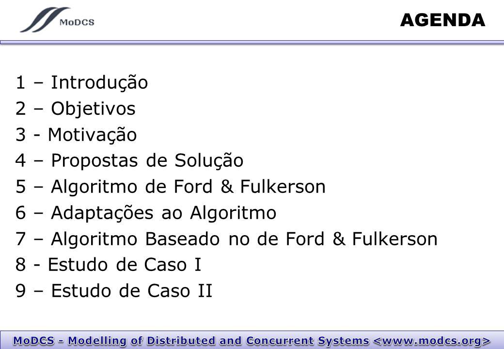 AGENDA 1 – Introdução 2 – Objetivos 3 - Motivação 4 – Propostas de Solução 5 – Algoritmo de Ford & Fulkerson 6 – Adaptações ao Algoritmo 7 – Algoritmo Baseado no de Ford & Fulkerson 8 - Estudo de Caso I 9 – Estudo de Caso II