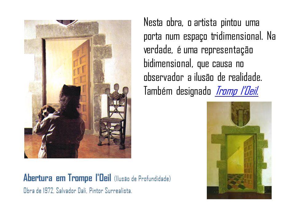 Abertura em Trompe l Oeil (Ilusão de Profundidade) Obra de 1972, Salvador Dali, Pintor Surrealista.