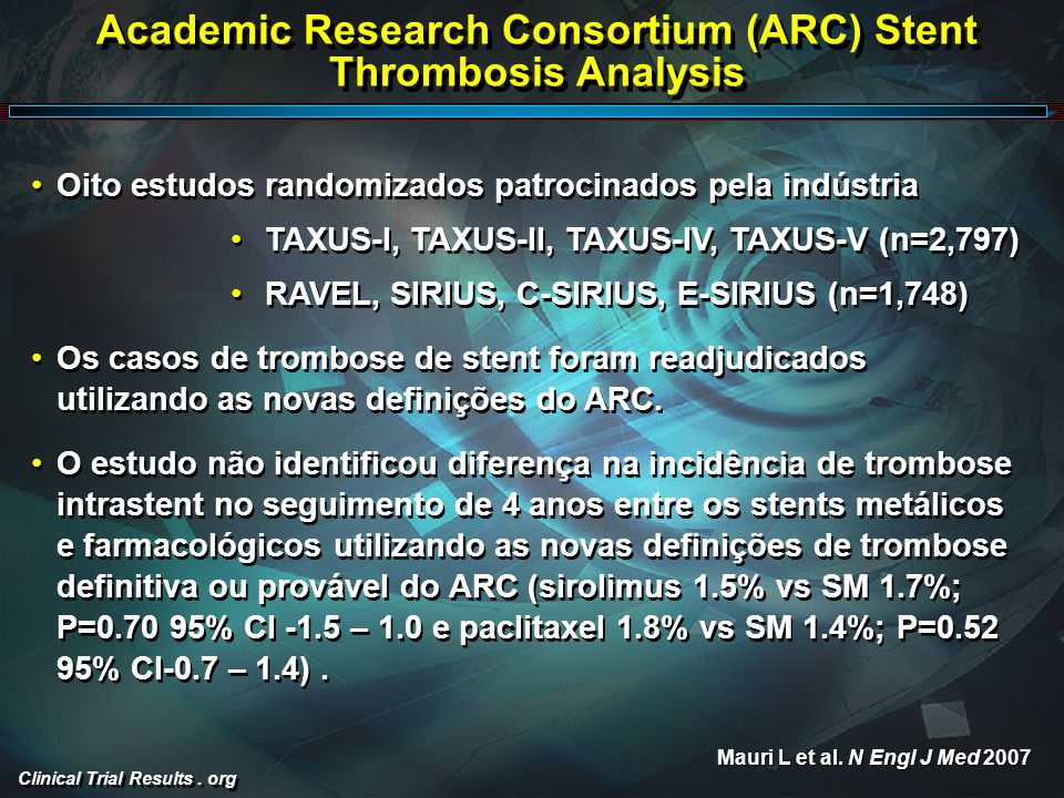Clinical Trial Results. org Academic Research Consortium (ARC) Stent Thrombosis Analysis Oito estudos randomizados patrocinados pela indústria TAXUS-I