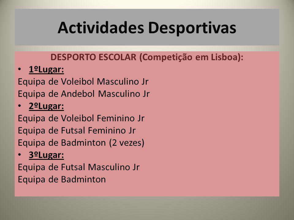DESPORTO ESCOLAR (Competição em Lisboa): 1ºLugar: Equipa de Voleibol Masculino Jr Equipa de Andebol Masculino Jr 2ºLugar: Equipa de Voleibol Feminino Jr Equipa de Futsal Feminino Jr Equipa de Badminton (2 vezes) 3ºLugar: Equipa de Futsal Masculino Jr Equipa de Badminton