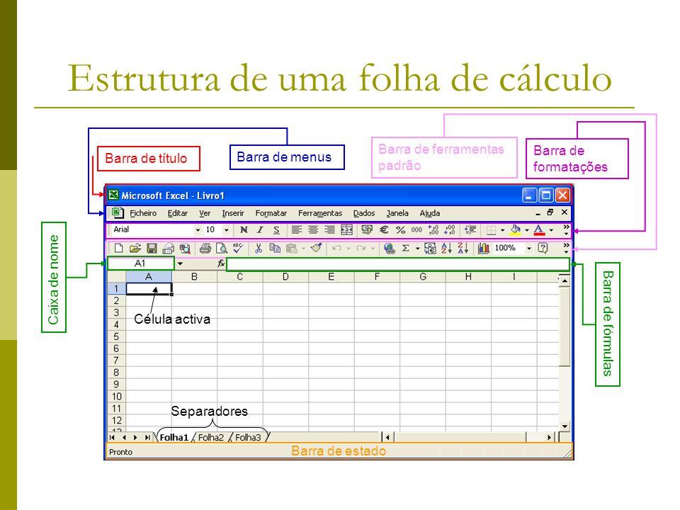 Estrutura de uma folha de cálculo Barra de título Barra de menus Barra de formatações Caixa de nome Barra de ferramentas padrão Barra de fórmulas Barr