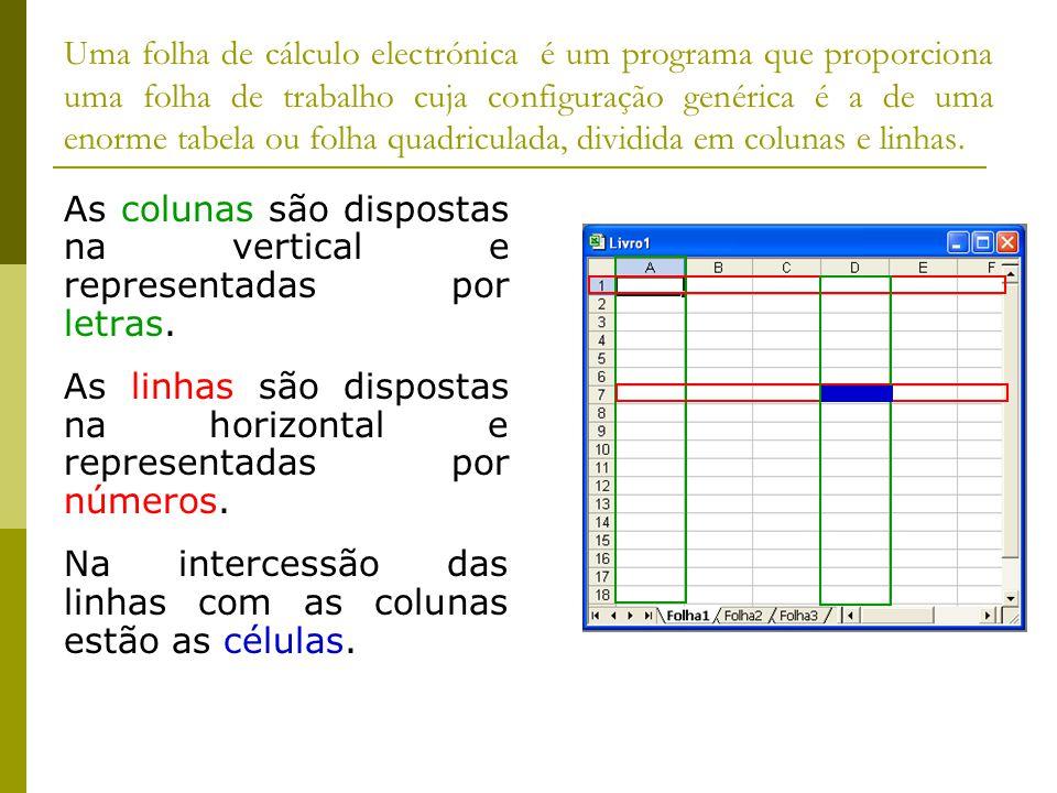 Uma folha de cálculo electrónica é um programa que proporciona uma folha de trabalho cuja configuração genérica é a de uma enorme tabela ou folha quad