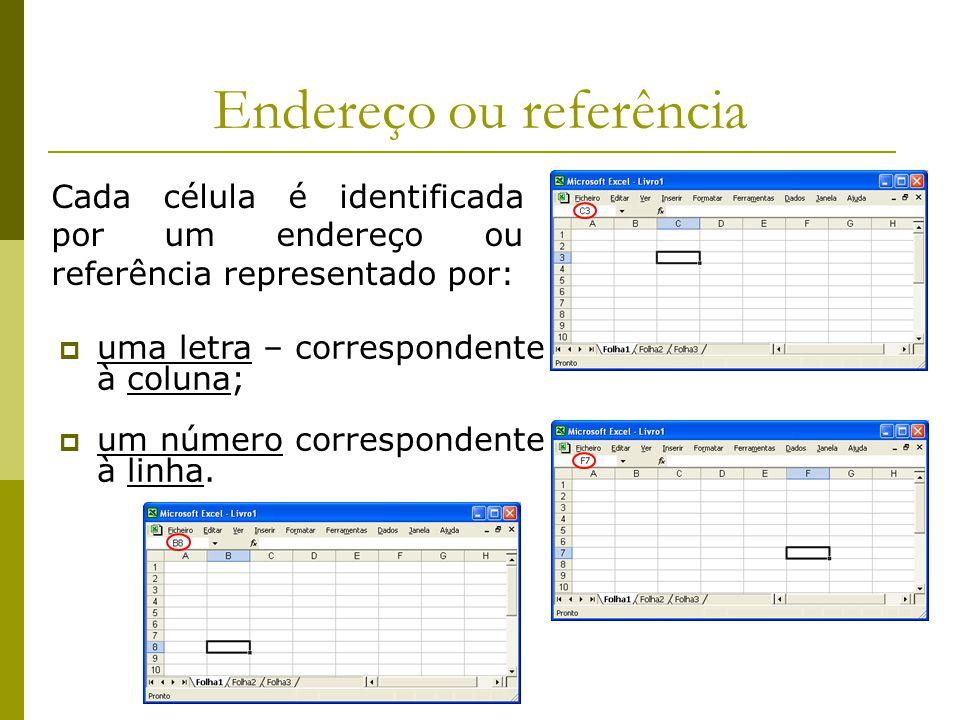 Endereço ou referência Cada célula é identificada por um endereço ou referência representado por:  uma letra – correspondente à coluna;  um número c