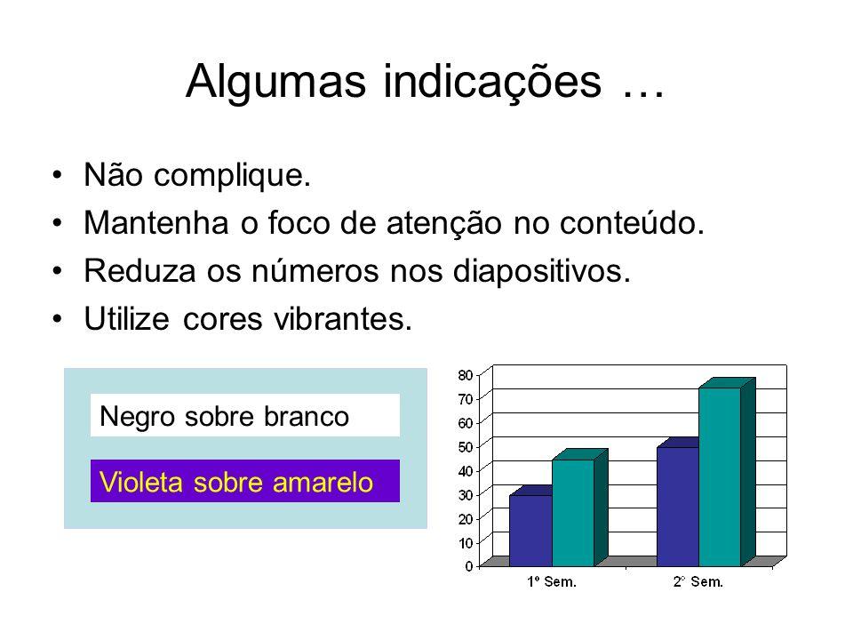 Algumas indicações … Não complique. Mantenha o foco de atenção no conteúdo. Reduza os números nos diapositivos. Utilize cores vibrantes. Violeta sobre