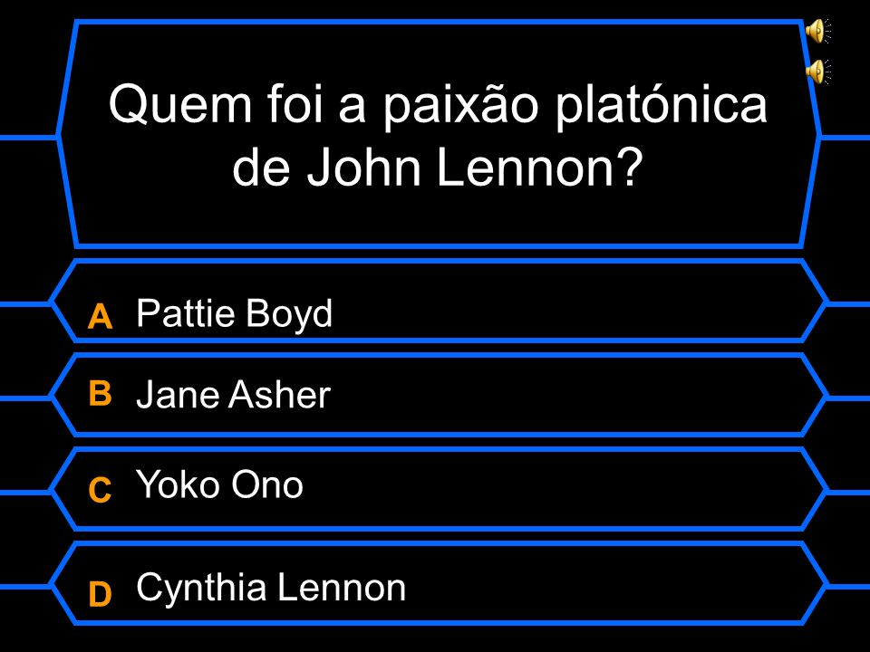 Quem foi a paixão platónica de John Lennon ABCDABCD Jane Asher Yoko Ono Cynthia Lennon Pattie Boyd