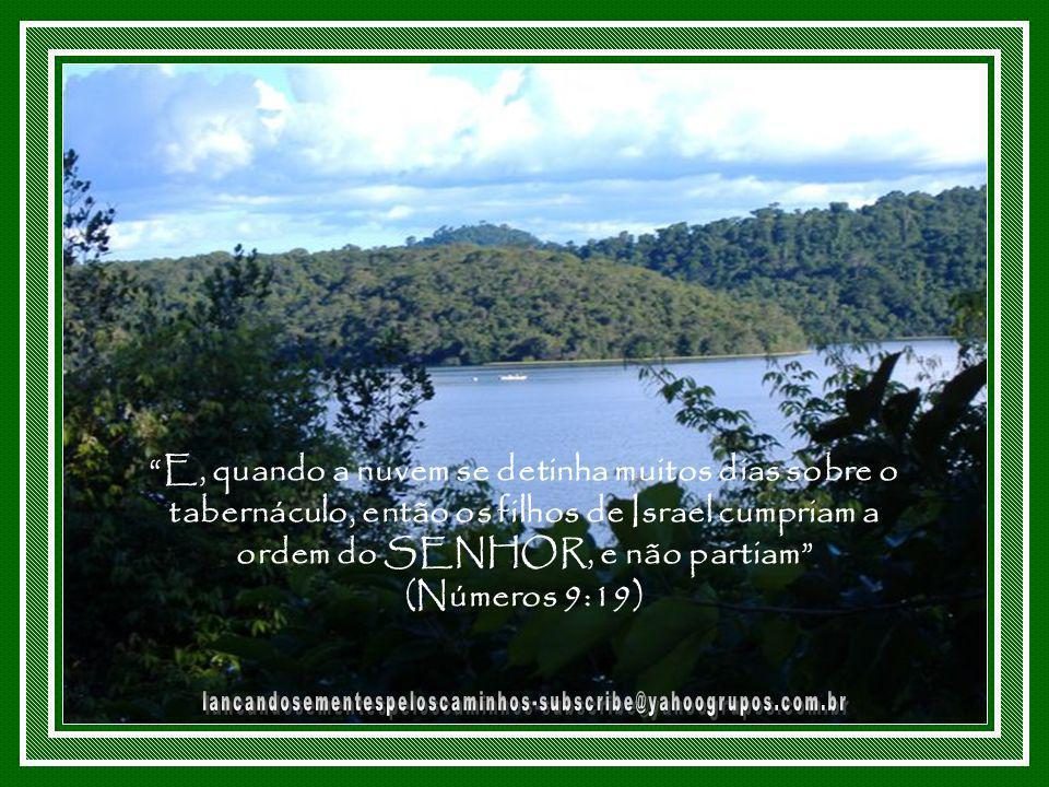 E, quando a nuvem se detinha muitos dias sobre o tabernáculo, então os filhos de Israel cumpriam a ordem do SENHOR, e não partiam (Números 9:19)