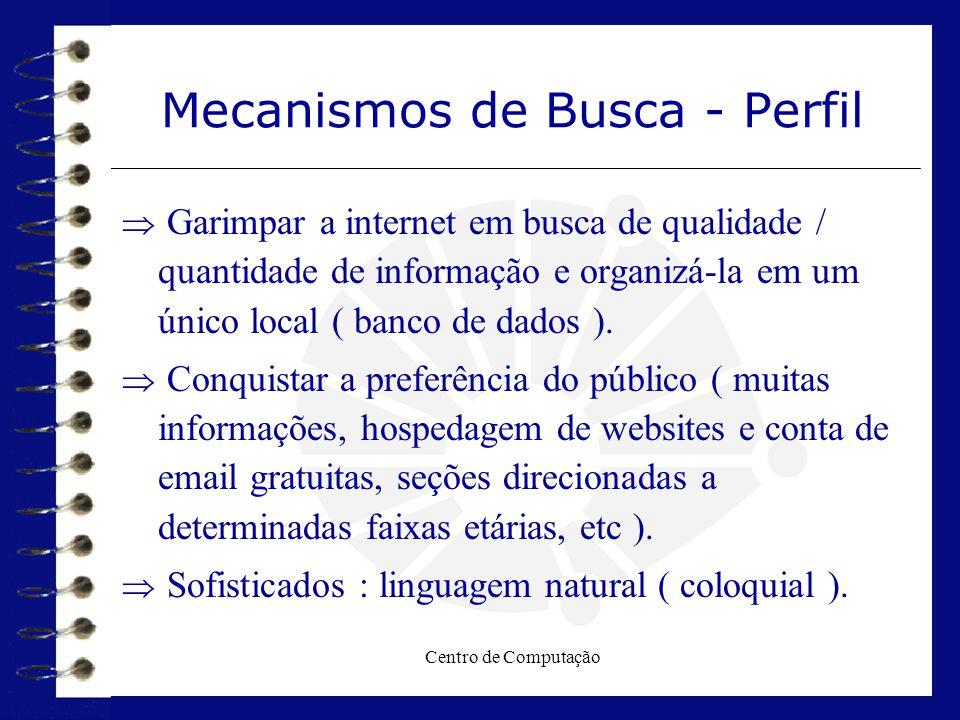 Centro de Computação Mecanismos de Busca - Perfil  Garimpar a internet em busca de qualidade / quantidade de informação e organizá-la em um único loc