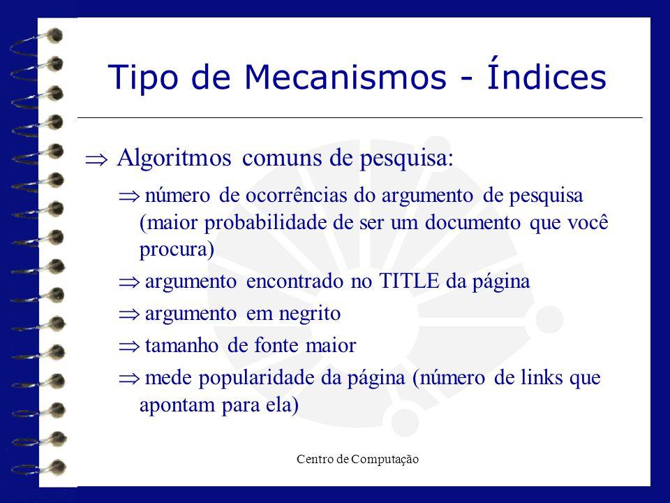Centro de Computação Tipo de Mecanismos - Índices  Algoritmos comuns de pesquisa:  número de ocorrências do argumento de pesquisa (maior probabilida