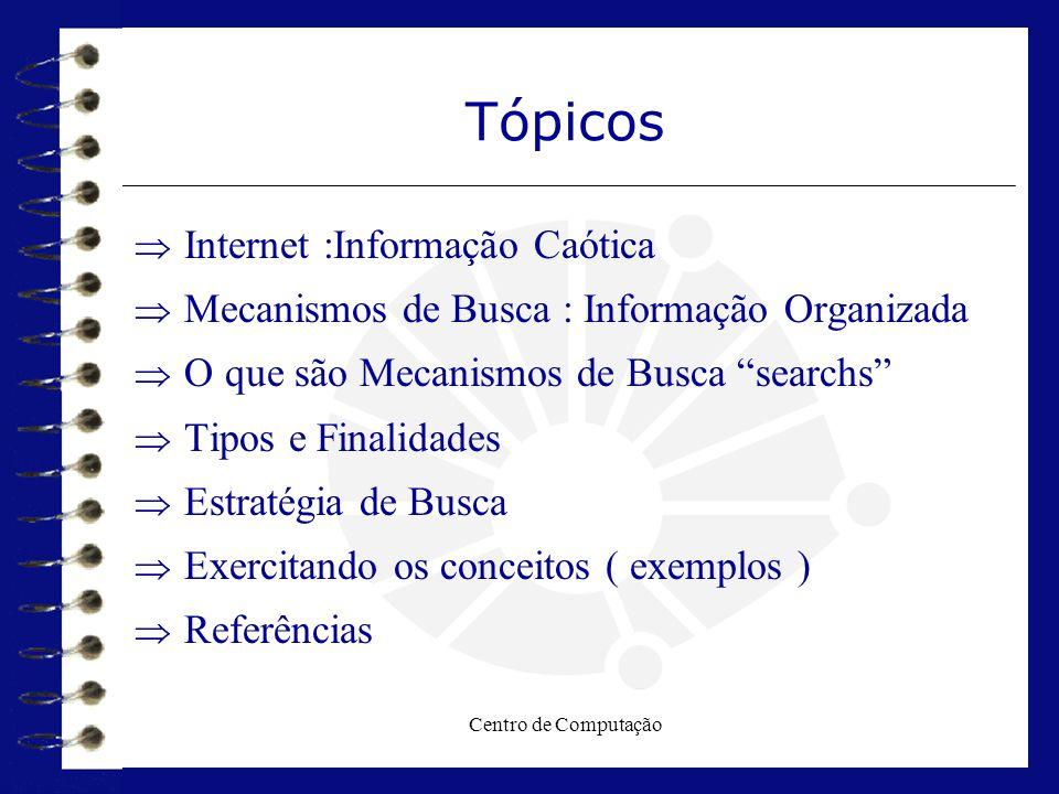Centro de Computação Tipo de Mecanismos - Índices  Os índices especializados não se preocupam em indexar toda a Web (focam sua busca dentro de um assunto definido, uma área geográfica ou tipo de recurso).