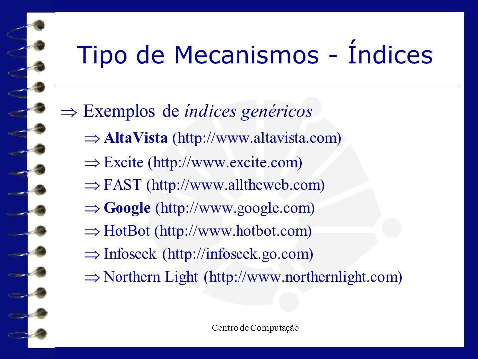 Centro de Computação Tipo de Mecanismos - Índices  Exemplos de índices genéricos  AltaVista (http://www.altavista.com)  Excite (http://www.excite.c