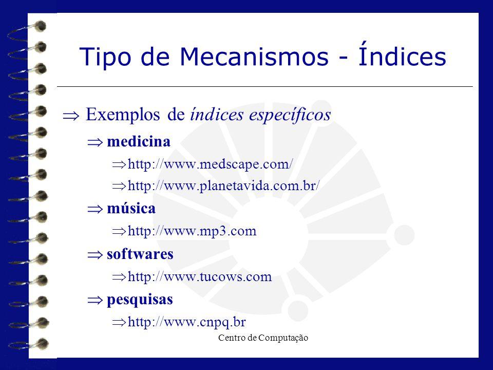 Centro de Computação Tipo de Mecanismos - Índices  Exemplos de índices específicos  medicina  http://www.medscape.com/  http://www.planetavida.com