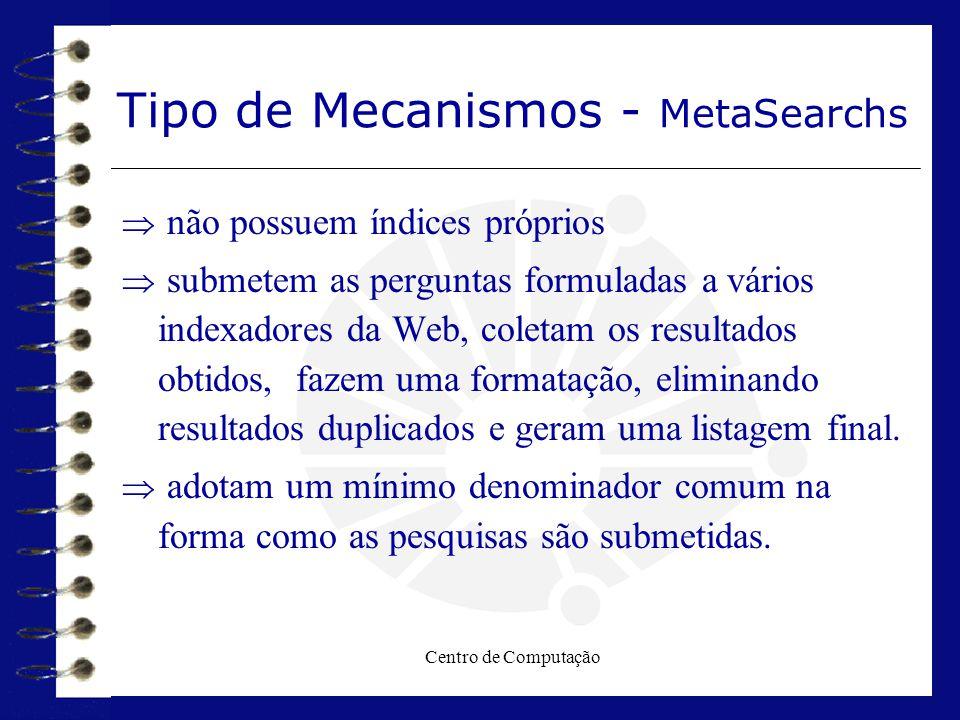Centro de Computação Tipo de Mecanismos - MetaSearchs  não possuem índices próprios  submetem as perguntas formuladas a vários indexadores da Web, c