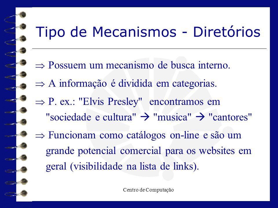 Centro de Computação Tipo de Mecanismos - Diretórios  Possuem um mecanismo de busca interno.  A informação é dividida em categorias.  P. ex.: