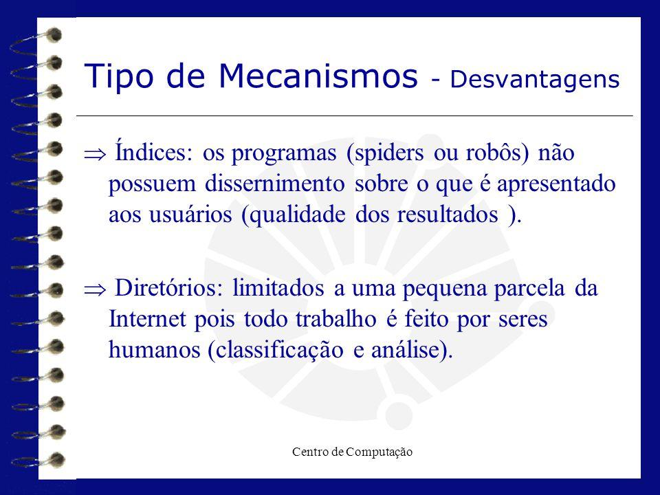 Centro de Computação Tipo de Mecanismos - Desvantagens  Índices: os programas (spiders ou robôs) não possuem dissernimento sobre o que é apresentado