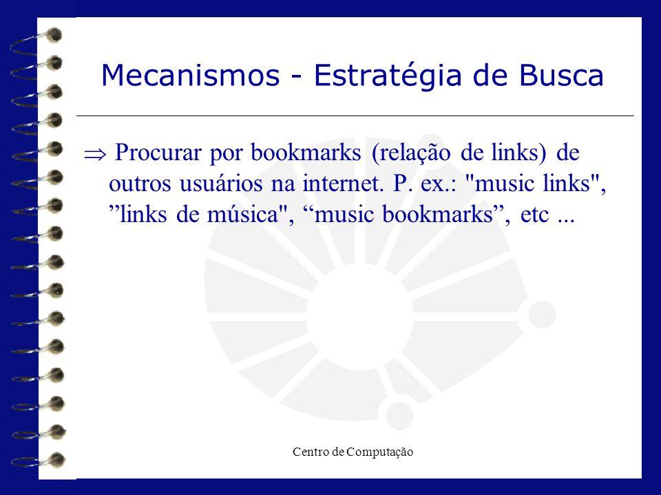Centro de Computação Mecanismos - Estratégia de Busca  Procurar por bookmarks (relação de links) de outros usuários na internet. P. ex.: