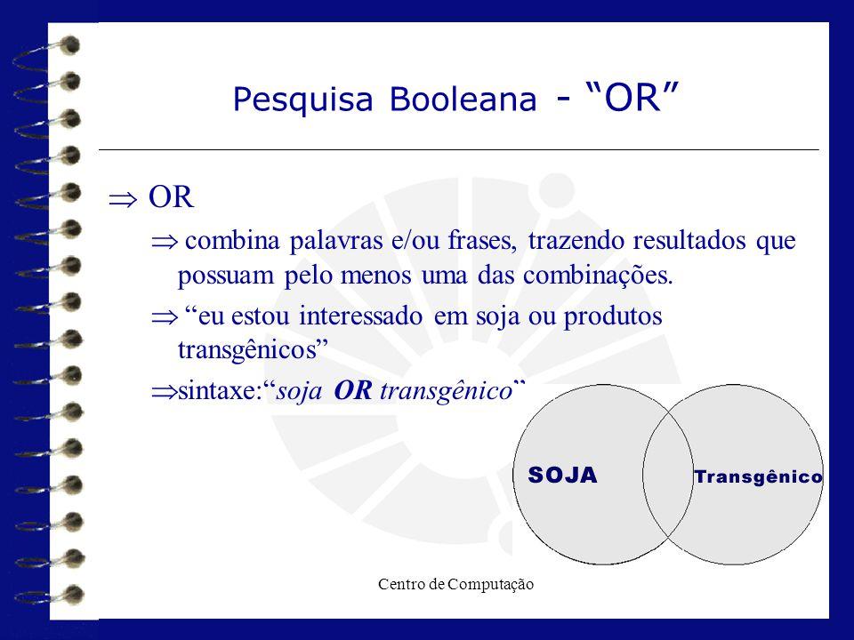 """Centro de Computação Pesquisa Booleana - """"OR""""  OR  combina palavras e/ou frases, trazendo resultados que possuam pelo menos uma das combinações.  """""""
