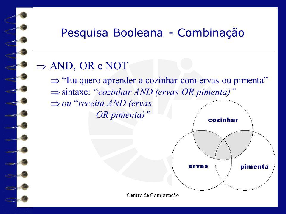 """Centro de Computação Pesquisa Booleana - Combinação  AND, OR e NOT  """"Eu quero aprender a cozinhar com ervas ou pimenta""""  sintaxe: """"cozinhar AND (er"""