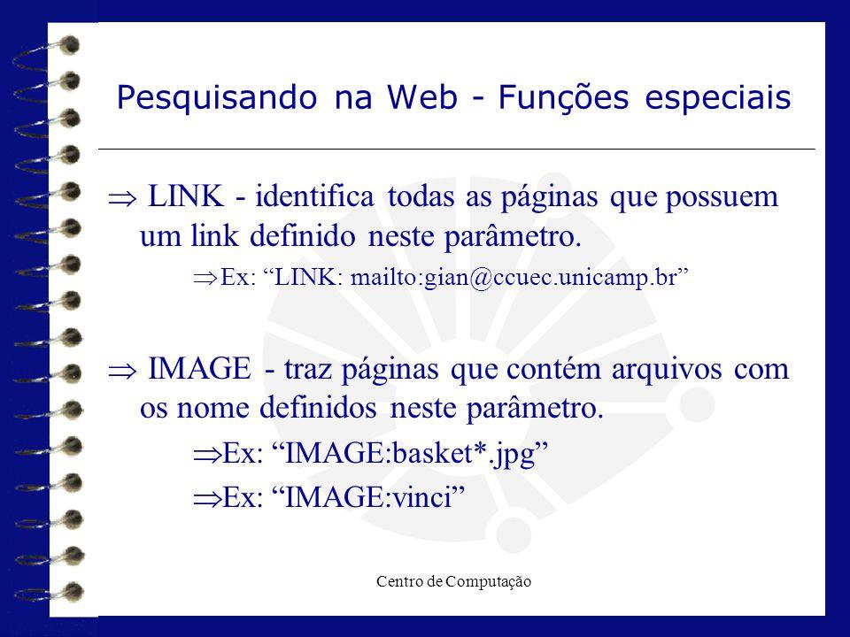 """Centro de Computação Pesquisando na Web - Funções especiais  LINK - identifica todas as páginas que possuem um link definido neste parâmetro.  Ex: """""""