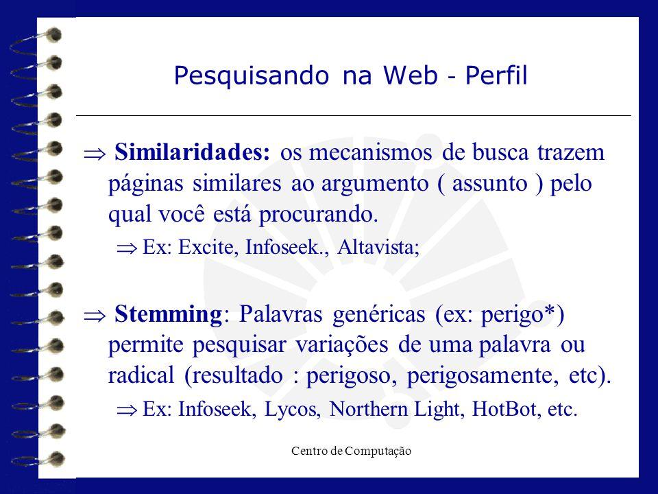 Centro de Computação Pesquisando na Web - Perfil  Similaridades: os mecanismos de busca trazem páginas similares ao argumento ( assunto ) pelo qual v