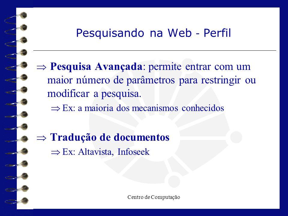 Centro de Computação Pesquisando na Web - Perfil  Pesquisa Avançada: permite entrar com um maior número de parâmetros para restringir ou modificar a