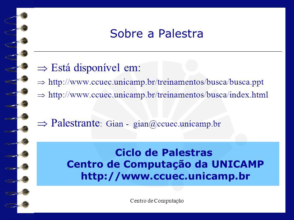 Centro de Computação Sobre a Palestra  Está disponível em:  http://www.ccuec.unicamp.br/treinamentos/busca/busca.ppt  http://www.ccuec.unicamp.br/t
