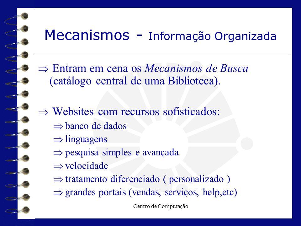 Centro de Computação Mecanismos - Informação Organizada  Entram em cena os Mecanismos de Busca (catálogo central de uma Biblioteca).  Websites com r