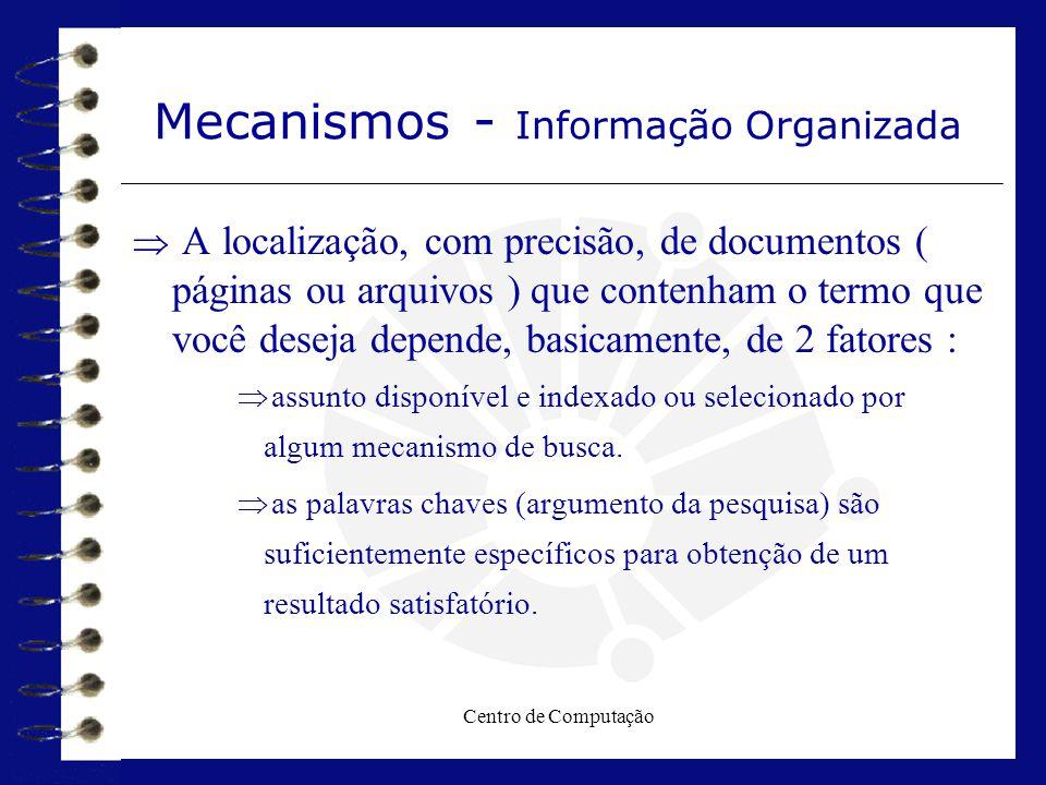Centro de Computação Mecanismos - Informação Organizada  A localização, com precisão, de documentos ( páginas ou arquivos ) que contenham o termo que