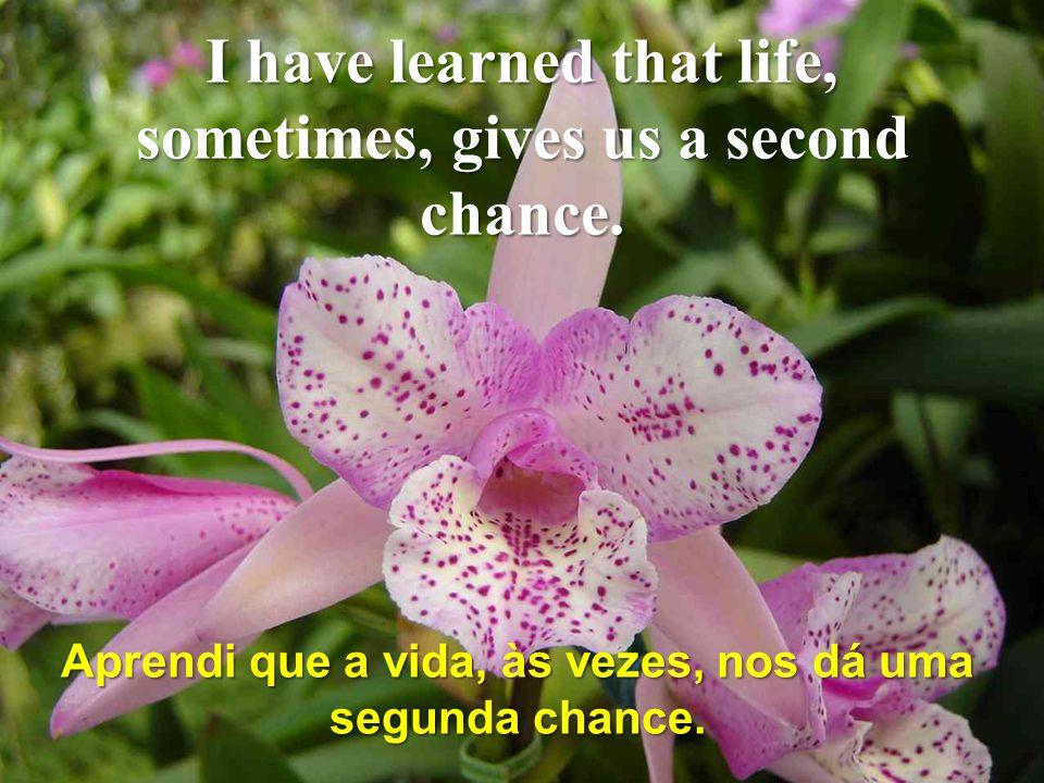 Aprendi que a vida, às vezes, nos dá uma segunda chance.