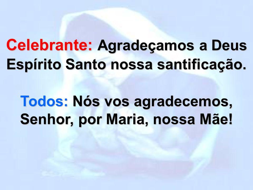 Celebrante: Agradeçamos a Deus Espírito Santo nossa santificação.