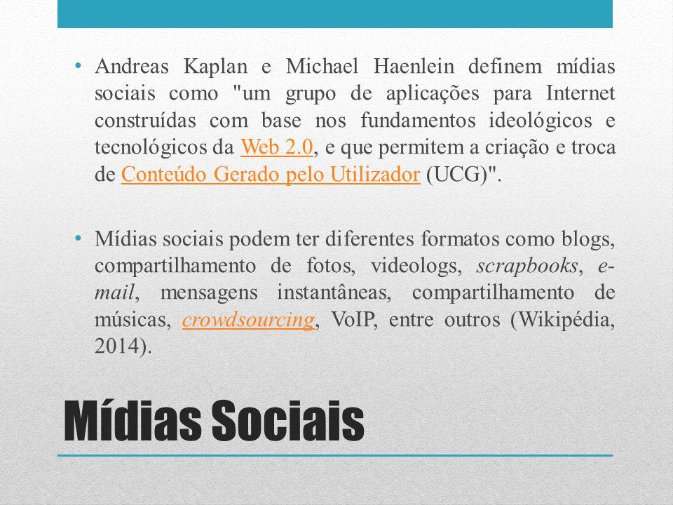 Mídias Sociais Andreas Kaplan e Michael Haenlein definem mídias sociais como