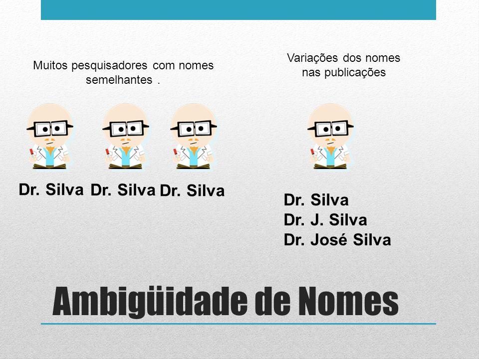 Muitos pesquisadores com nomes semelhantes. Dr. Silva Variações dos nomes nas publicações Dr. Silva Dr. J. Silva Dr. José Silva Dr. Silva Ambigüidade