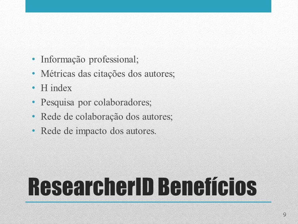 ResearcherID Benefícios Informação professional; Métricas das citações dos autores; H index Pesquisa por colaboradores; Rede de colaboração dos autore