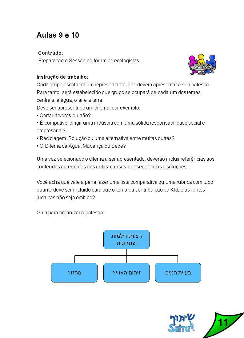 11 Aulas 9 e 10 Conteúdo: Preparação e Sessão do fórum de ecologistas.