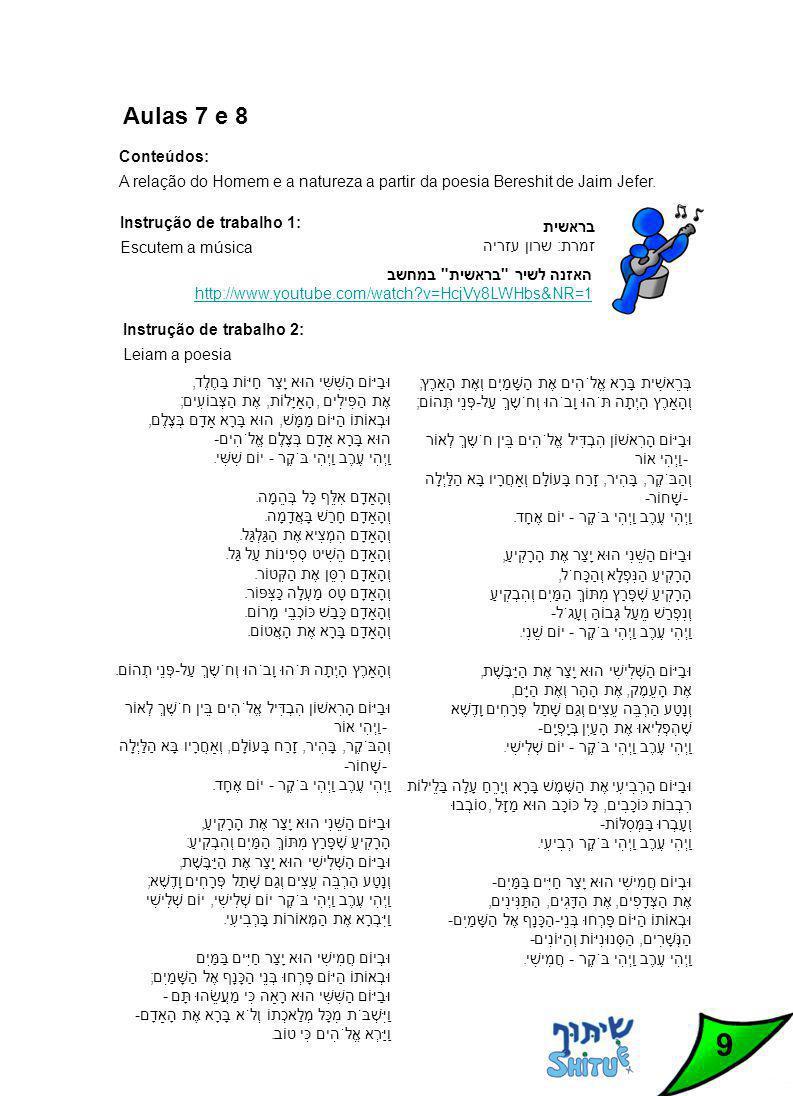 9 Conteúdos: A relação do Homem e a natureza a partir da poesia Bereshit de Jaim Jefer.