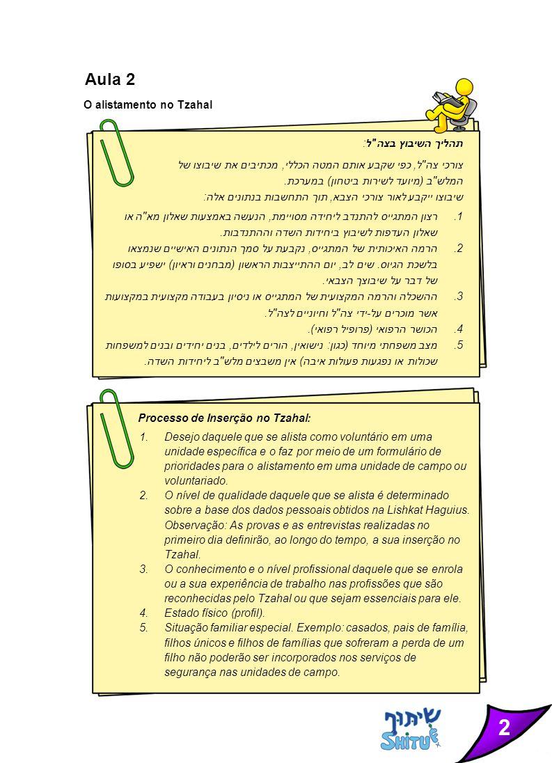 2 Aula 2 O alistamento no Tzahal תהליך השיבוץ בצה ל: צורכי צה ל, כפי שקבע אותם המטה הכללי, מכתיבים את שיבוצו של המלש ב (מיועד לשירות ביטחון) במערכת.