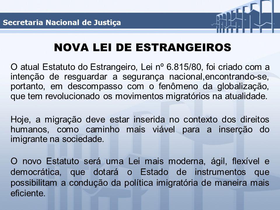 NOVA LEI DE ESTRANGEIROS O atual Estatuto do Estrangeiro, Lei nº 6.815/80, foi criado com a intenção de resguardar a segurança nacional,encontrando-se, portanto, em descompasso com o fenômeno da globalização, que tem revolucionado os movimentos migratórios na atualidade.