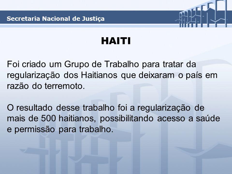 HAITI Foi criado um Grupo de Trabalho para tratar da regularização dos Haitianos que deixaram o país em razão do terremoto.