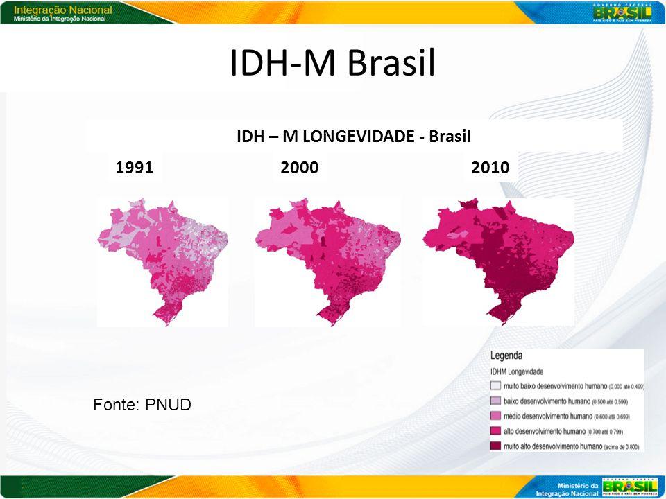 IDH-M Brasil 1991 20002010 IDH – M LONGEVIDADE - Brasil Fonte: PNUD