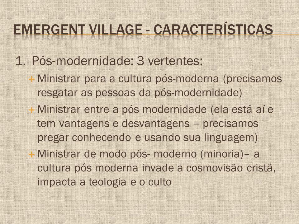 1.Pós-modernidade: 3 vertentes:  Ministrar para a cultura pós-moderna (precisamos resgatar as pessoas da pós-modernidade)  Ministrar entre a pós mod