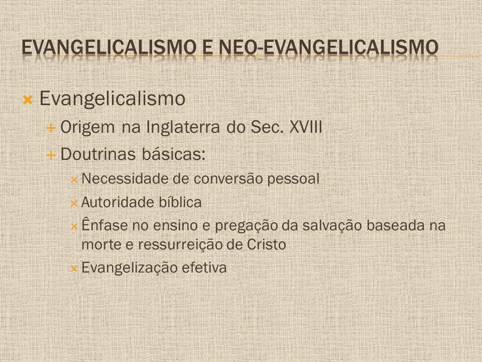  Evangelicalismo  Origem na Inglaterra do Sec. XVIII  Doutrinas básicas:  Necessidade de conversão pessoal  Autoridade bíblica  Ênfase no ensino