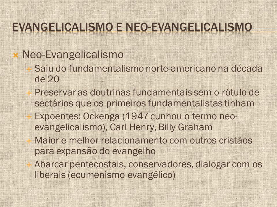  Neo-Evangelicalismo  Saiu do fundamentalismo norte-americano na década de 20  Preservar as doutrinas fundamentais sem o rótulo de sectários que os