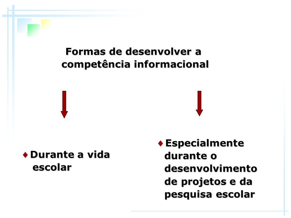 Formas de desenvolver a competência informacional ♦ Durante a vida escolar escolar ♦ Especialmente durante o durante o desenvolvimento desenvolvimento