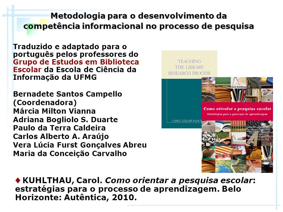 Traduzido e adaptado para o português pelos professores do Grupo de Estudos em Biblioteca Escolar da Escola de Ciência da Informação da UFMG Bernadete