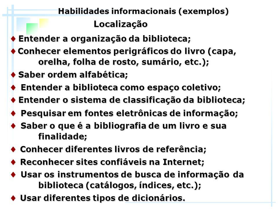 ♦ Entender a organização da biblioteca; ♦ Conhecer elementos perigráficos do livro (capa, orelha, folha de rosto, sumário, etc.); ♦ Saber ordem alfabé